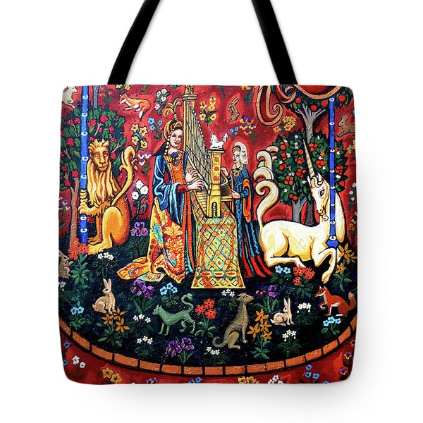 Tote Bag featuring the painting Lady And The Unicorn Sound by Genevieve Esson