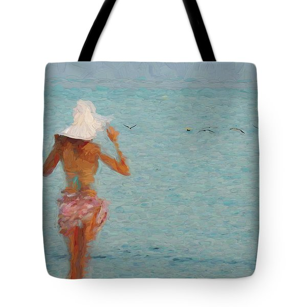Lady At The Beach Tote Bag