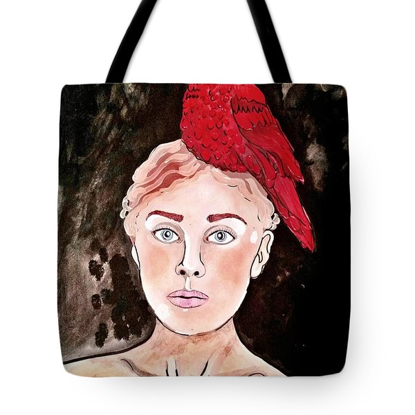 Tote Bag featuring the painting Lady Cardinal by Amy Sorrell