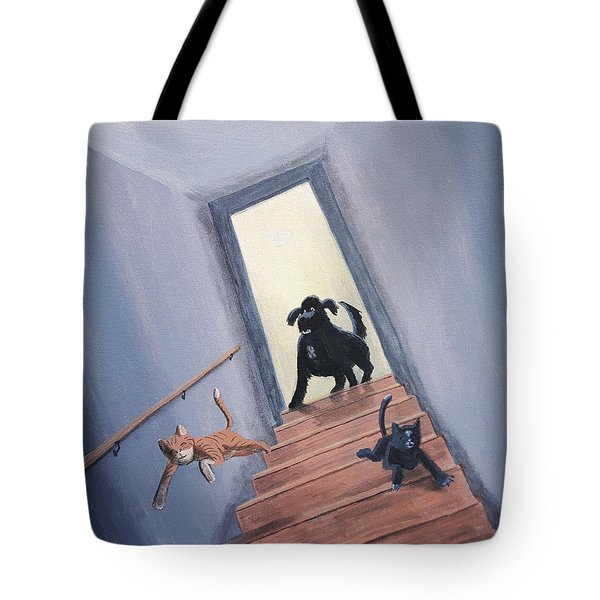 Lady Chases The Cats Down The Stairs Tote Bag