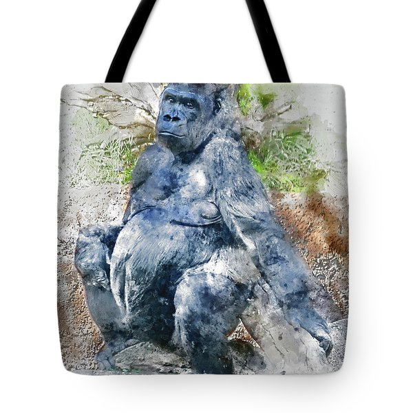 Lady Gorilla Sitting Deep In Thought Tote Bag