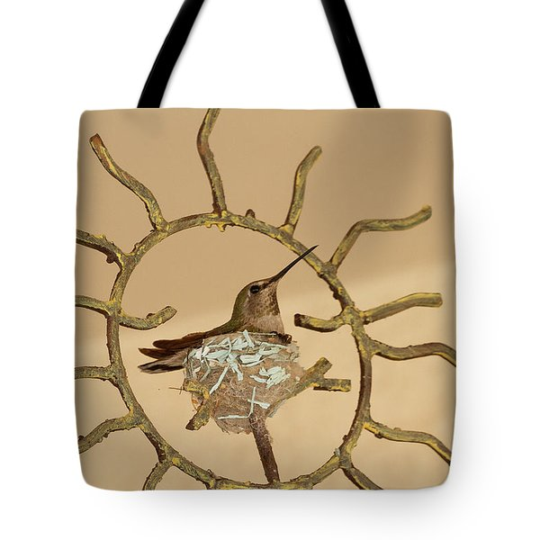 Lady Hummingbird On Her Nest Tote Bag