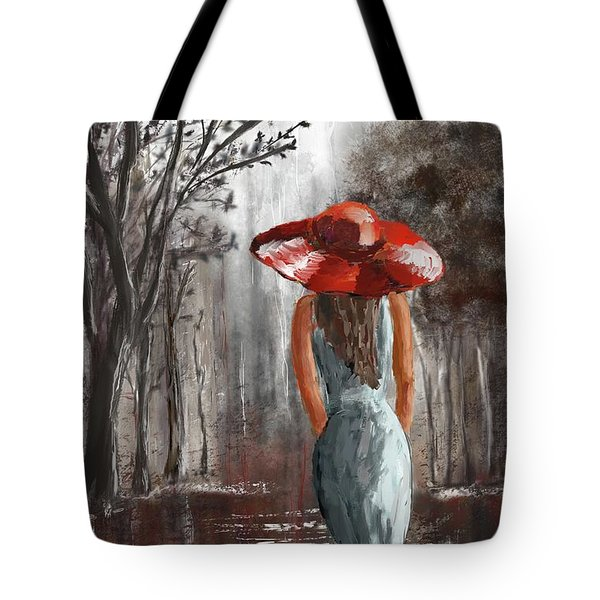 Lady In A Red Hat Tote Bag