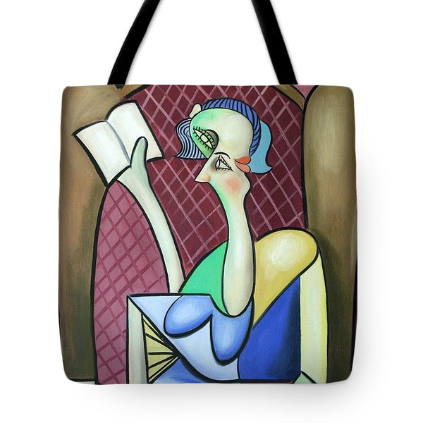 Lady In A Winged Back Chair Tote Bag by Anthony Falbo