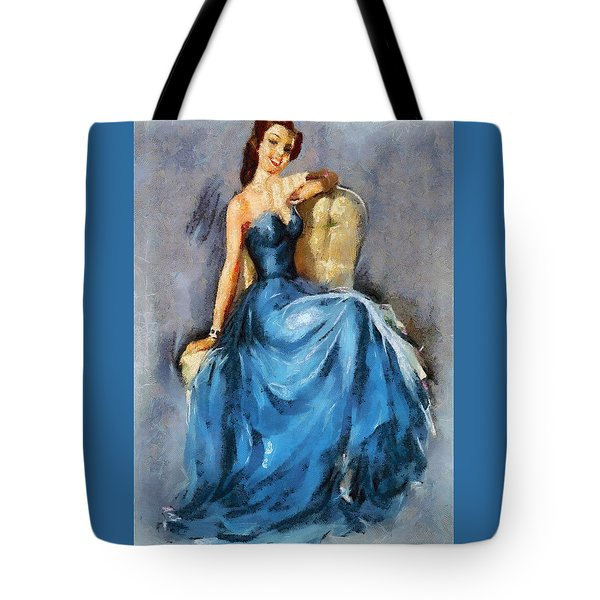 Tote Bag featuring the digital art Lady In Blue by Charmaine Zoe