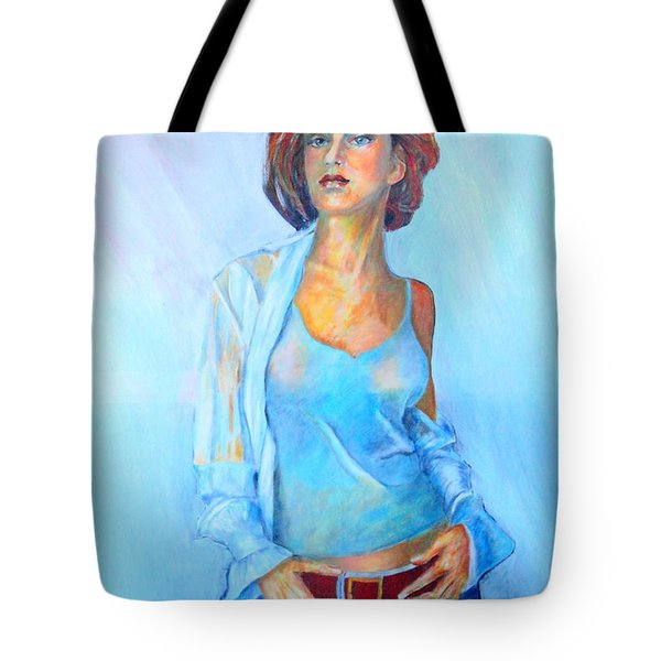 Lady In Blue II Tote Bag