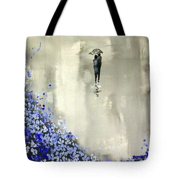 Tote Bag featuring the painting Lady In Blue by Raymond Doward