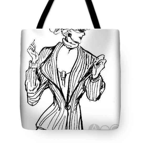 Lady In Fashion Coat Tote Bag
