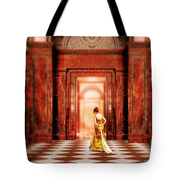 Lady In Golden Gown Walking Through Doorway Tote Bag by Jill Battaglia