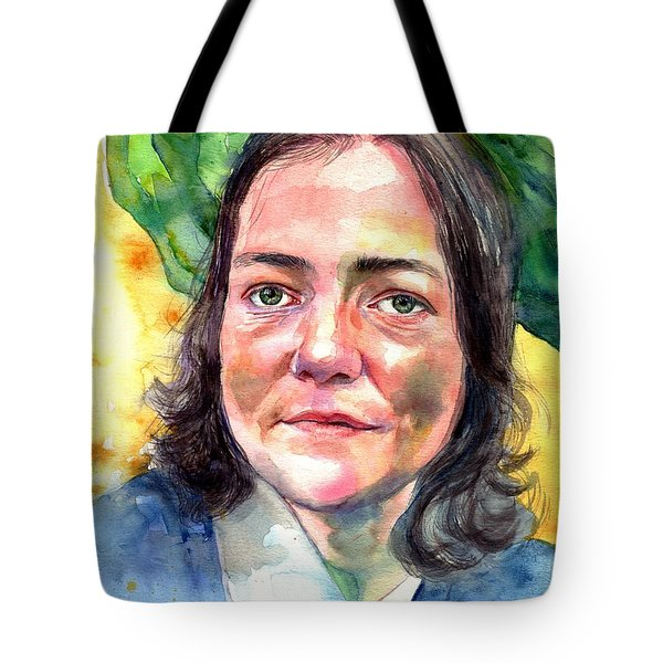 Lady In Green Hat Tote Bag
