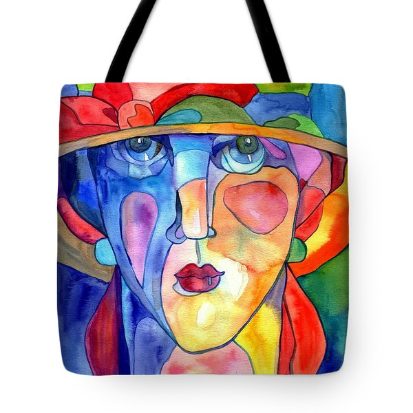 Lady In Hat Watercolor Tote Bag