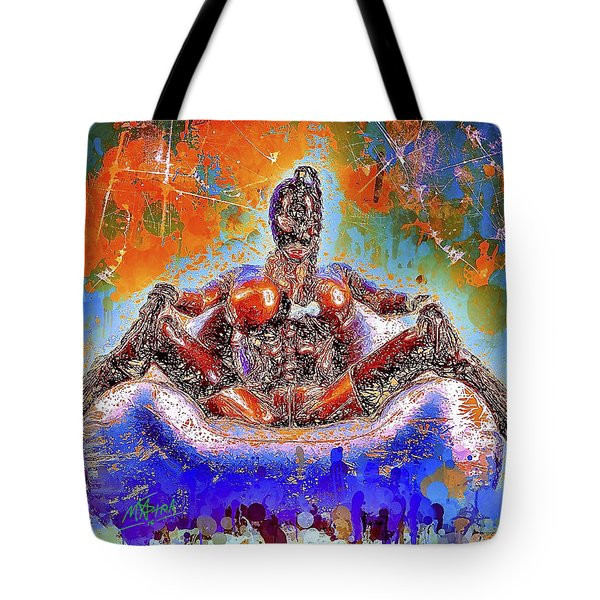 Tote Bag featuring the mixed media Lady In Latex by Al Matra