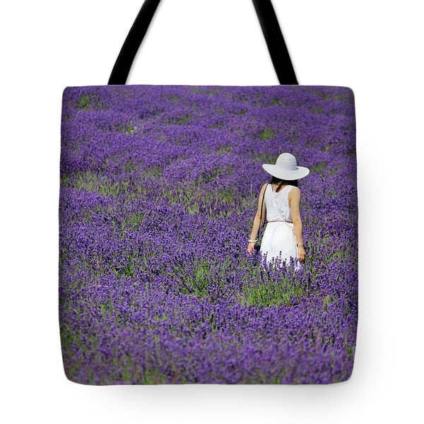 Lady In Lavender Field Tote Bag