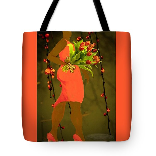 Lady In Orange Tote Bag