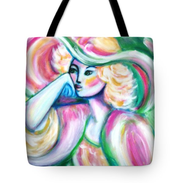 Lady In Pink And Green Tote Bag