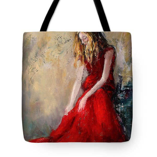 Tote Bag featuring the painting Lady In Red 2 by Jennifer Beaudet
