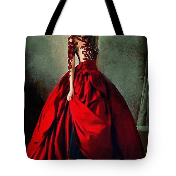 Tote Bag featuring the digital art Lady In Red by Charmaine Zoe