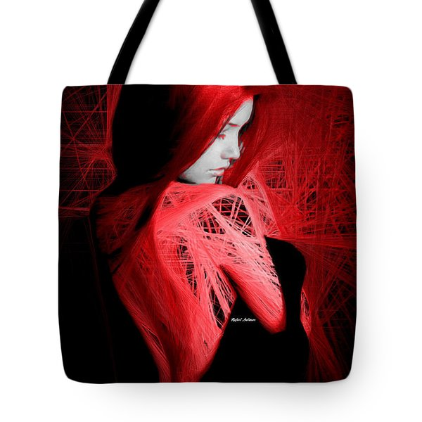 Tote Bag featuring the digital art Lady In Red by Rafael Salazar