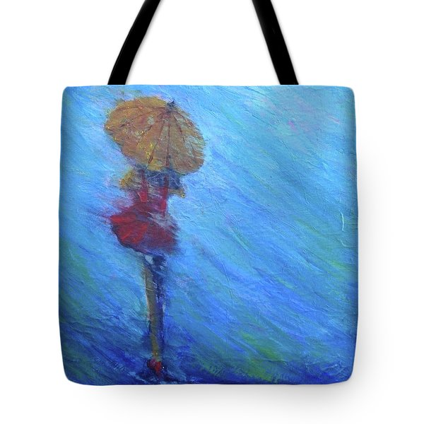 Lady In Red Tote Bag by T Fry-Green