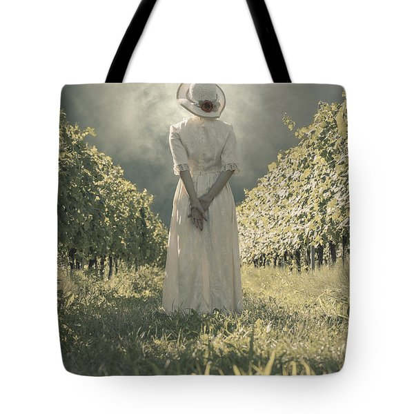 Lady In Vineyard Tote Bag by Joana Kruse