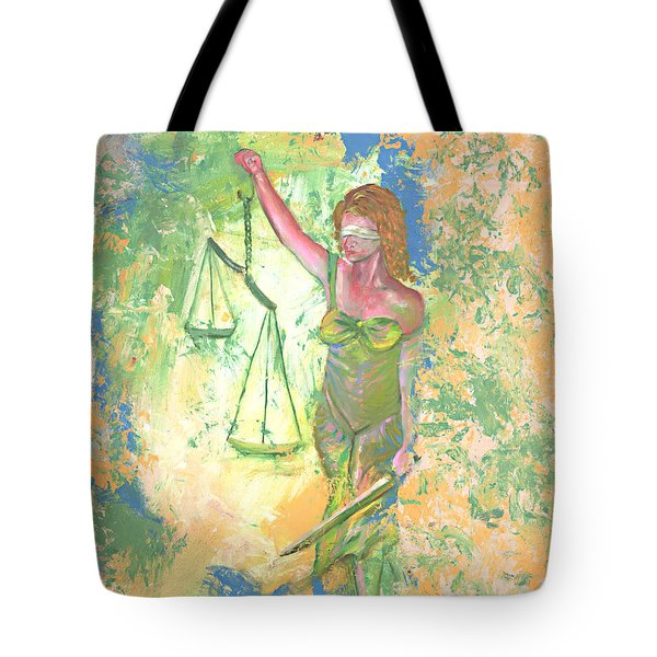 Lady Justice And The Man Tote Bag by Peter Bonk