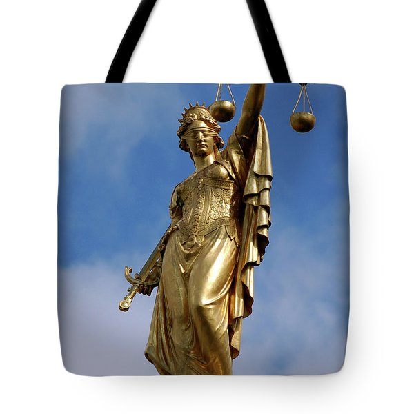 Tote Bag featuring the photograph Lady Justice In Bruges by RicardMN Photography