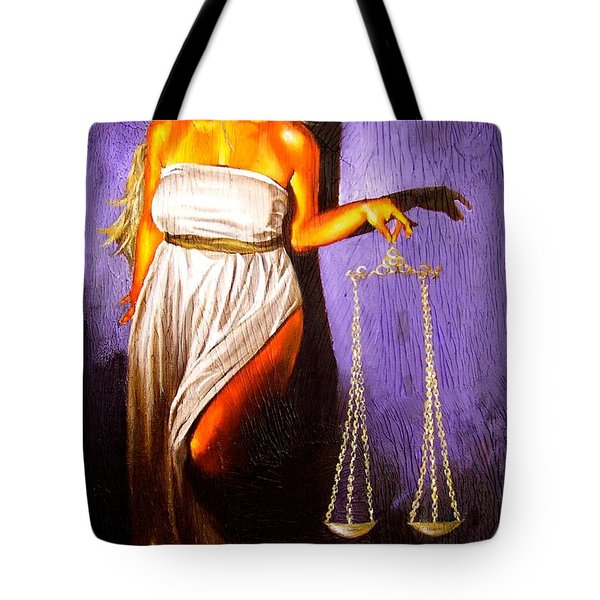 Lady Justice Long Scales Tote Bag by Laura Pierre-Louis