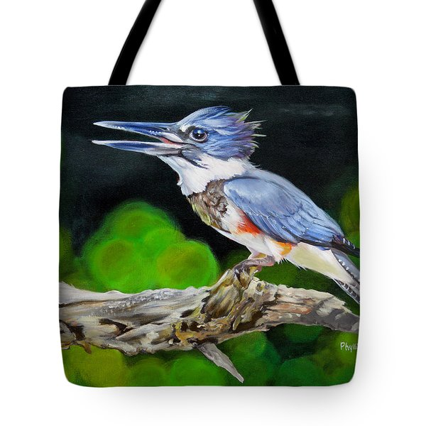 Lady Kingfishers Song Tote Bag by Phyllis Beiser