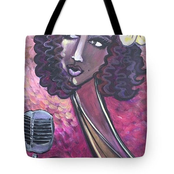 Tote Bag featuring the painting Lady Lauren Midnight Singer by Laurie Maves ART