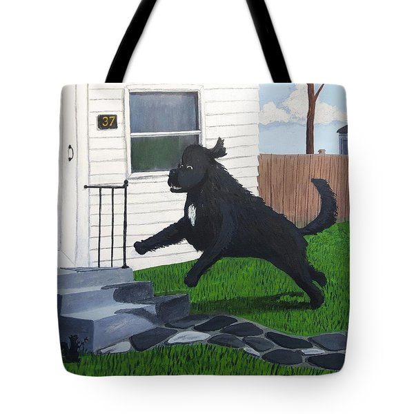 Lady Leaps The Small Front Stairs Tote Bag