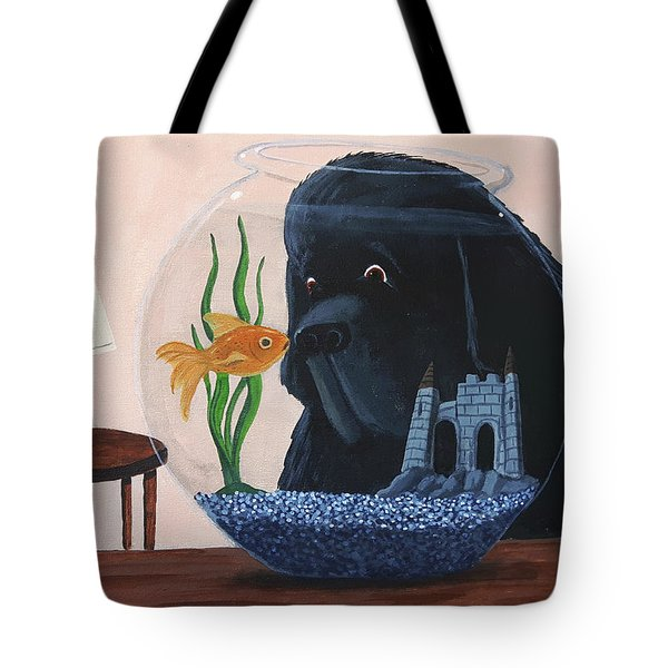 Lady Looks In The Fish Bowl For Mommy And Daddy Tote Bag