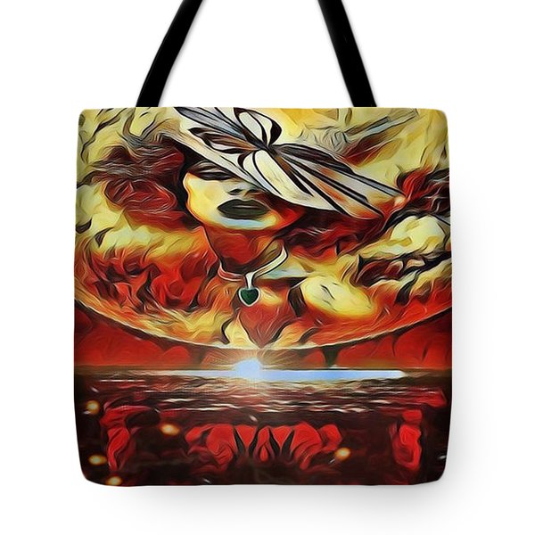 Lady Moon Light In Red Tote Bag
