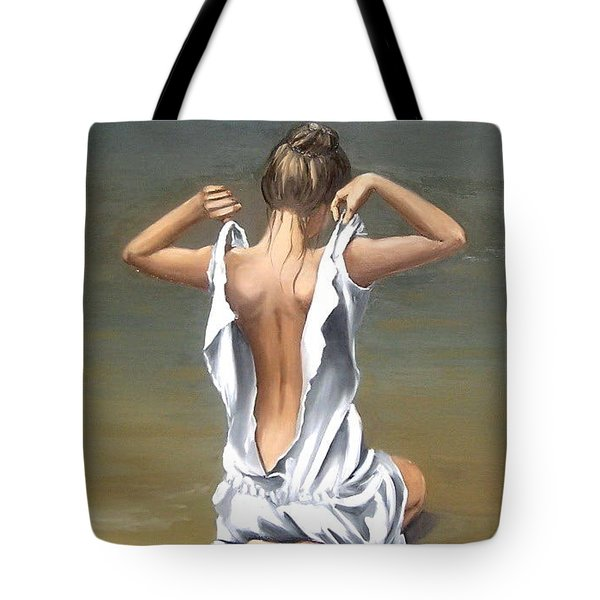Tote Bag featuring the painting Lady by Natalia Tejera