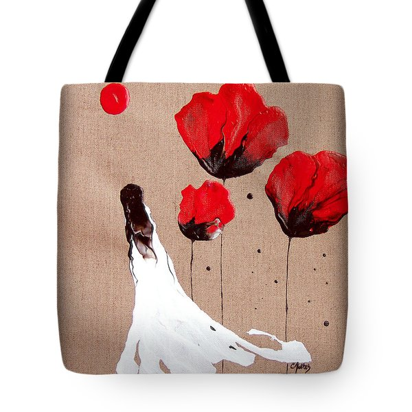 Lady Of The Poppies -contemporary Abstract Woman Red Flowers Fantasy Tote Bag by Catherine Jeltes