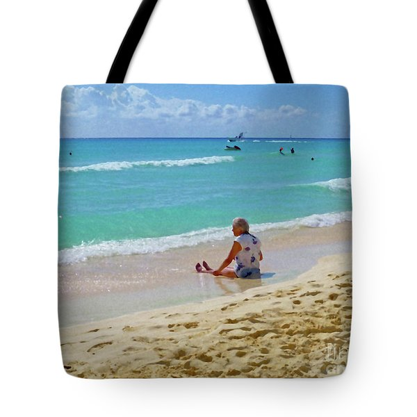 Tote Bag featuring the digital art Lady On The Beach by Francesca Mackenney