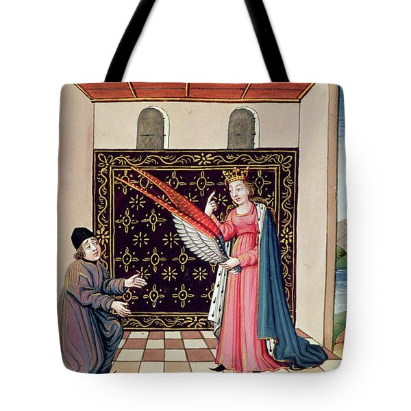 Lady Philosophy Offers To Boethius The Wings That Will Enable His Mind To Fly Aloft  Tote Bag