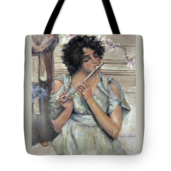 Lady Playing Flute Tote Bag