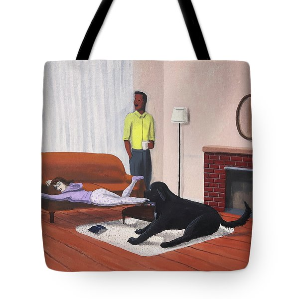 Lady Pulling Mommy Off The Couch Tote Bag