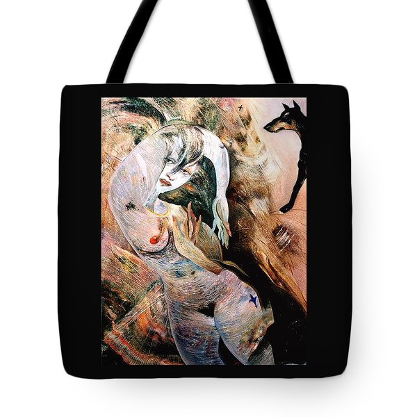 Lady Running Away From The Dog Tote Bag by Mikhail Savchenko