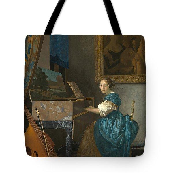 Lady Seated At A Virginal Tote Bag