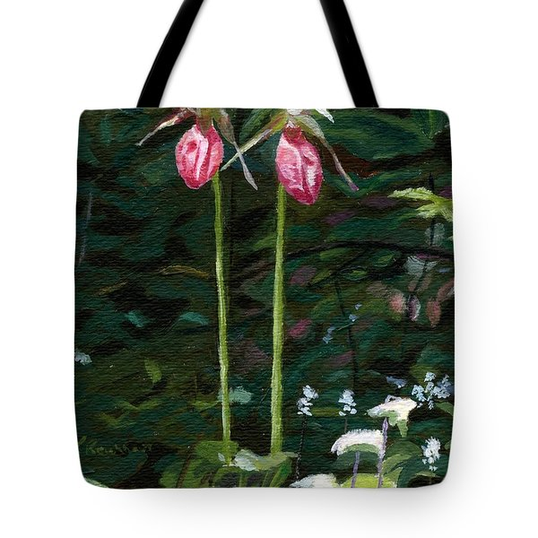 Tote Bag featuring the painting Lady Slipper by Lynne Reichhart