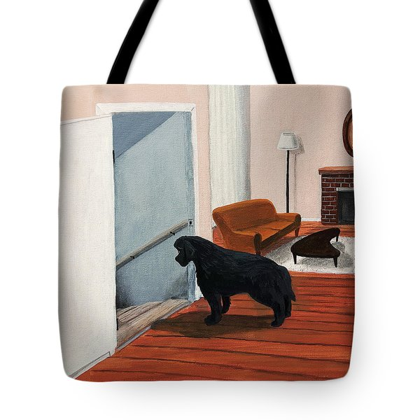 Lady Stares Down The Big Stairs Tote Bag