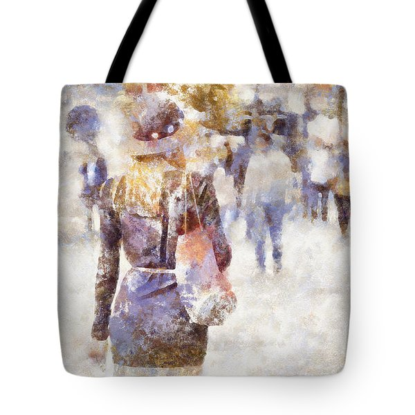 Lady Walking Tote Bag by Shirley Stalter