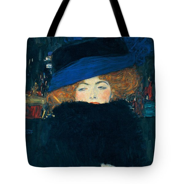 Lady With A Hat And A Feather Boa Tote Bag