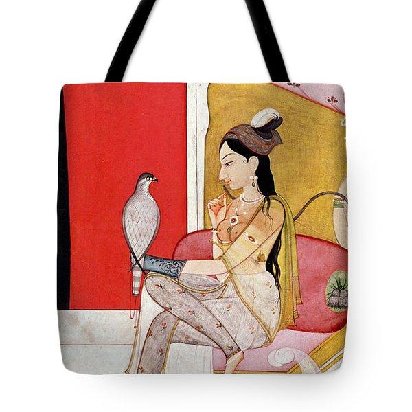 Lady With A Hawk Tote Bag by Guler School