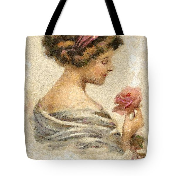 Lady With A Rose Tote Bag