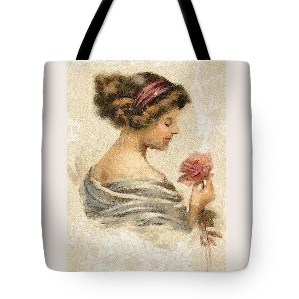 Tote Bag featuring the digital art Lady With A Rose by Charmaine Zoe