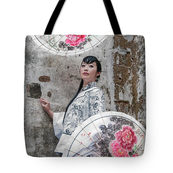 Lady With An Umbrella. Tote Bag