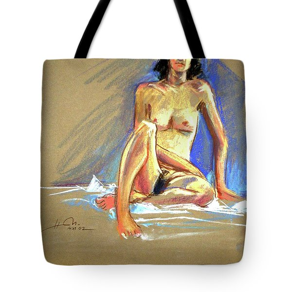 Lady With Blue Tote Bag