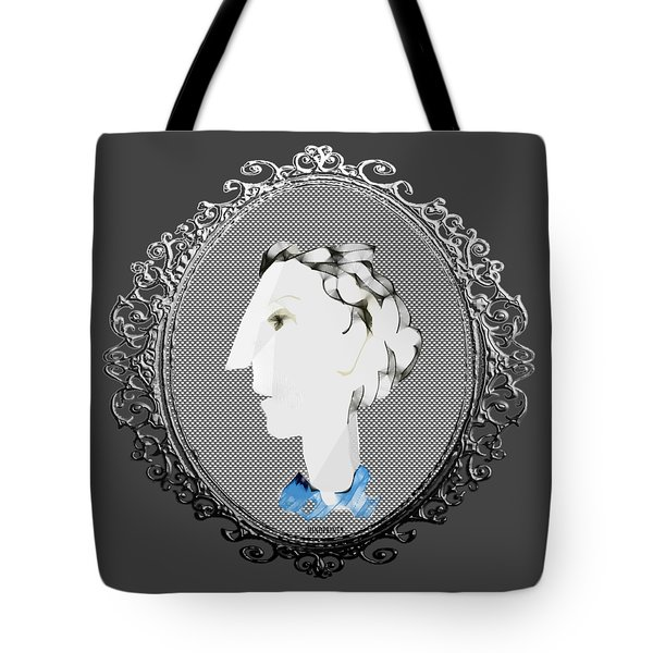 Lady With Blue Scarf Tote Bag